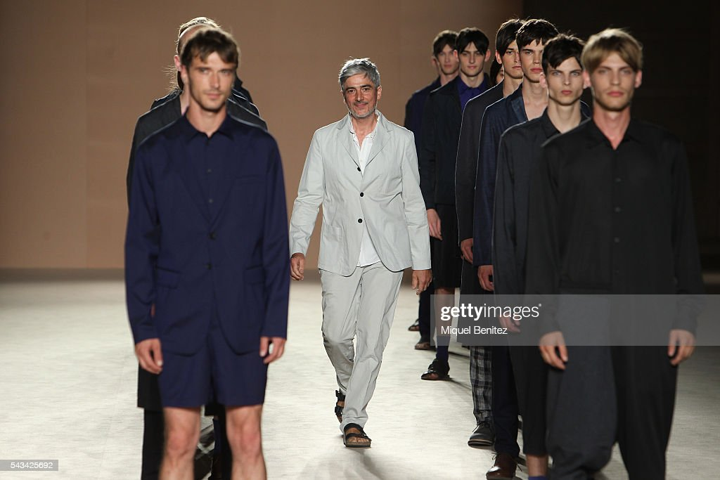 Catalan designer Josep Abril walks the runway at the Josep Abril show during the Barcelona 080 Fashion Week Spring/Summer 2017 at the INEFC Institut Nacional de Educacio Fsica de Catalunya on June 28, 2016 in Barcelona, Spain.