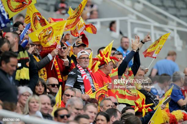 Catalan Dragons fans during day two of the Betfred Super League Magic Weekend at St James' Park Newcastle