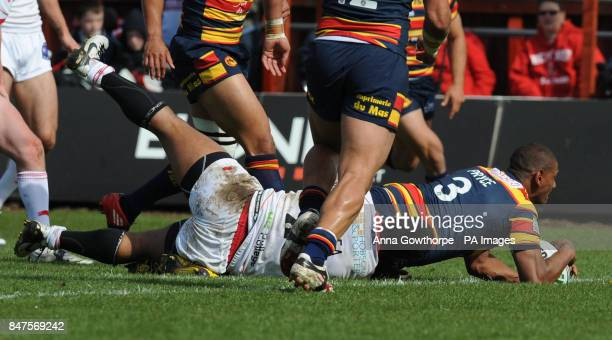 Catalan Dragons' Leon Pryce scores his side's first try during the Carnegie Challenge Cup match at the MS3 Craven Park Stadium Hull