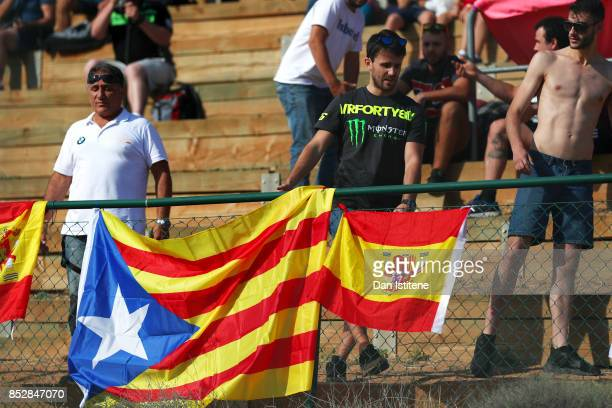 Catalan flag hangs from the front of the stand during warmup before the MotoGP of Aragon at Motorland Aragon Circuit on September 24 2017 in Alcaniz...