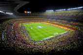 Catalan flag is displayed by FC Barcelona fans prior to he La Liga match between FC Barcelona and Real Mdrid CF at Camp Nou on October 7 2012 in...