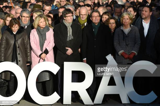 Catalan Government Carles Puigdemont Catalan parliament President Carme Forcadell former Catalan vicepresident of Catalan Government Joana Ortega...