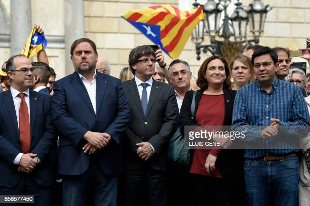 Catalan government spokesman Jordi Turull leader of the leftwing party Esquerra Republicana Catalan regional vicepresident and chief of Economy and...