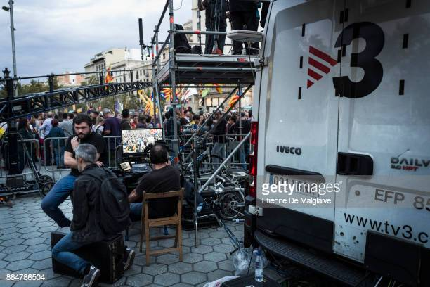 Catalan network TV3 stationed next to the demonstration broadcasting live coverage This media is presumably targeted by Spanish government plan to...