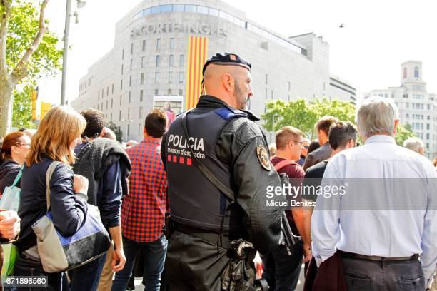 Catalan Police are seen during Sant Jordi's Day on Plaa Catalunya on April 23 2017 in Barcelona Spain