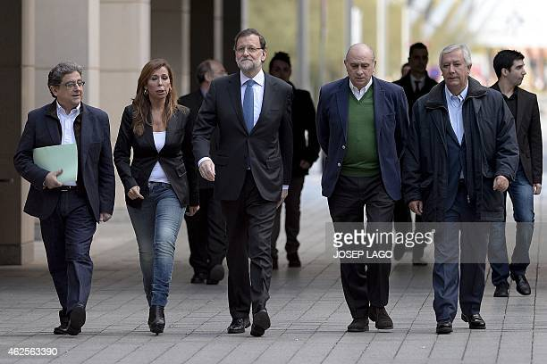 Catalan PP'S deputy Enric Millo president of the Popular Party in Catalonia Alicia Sanchez Camacho Spanish Prime Minister and PP's leader Mariano...