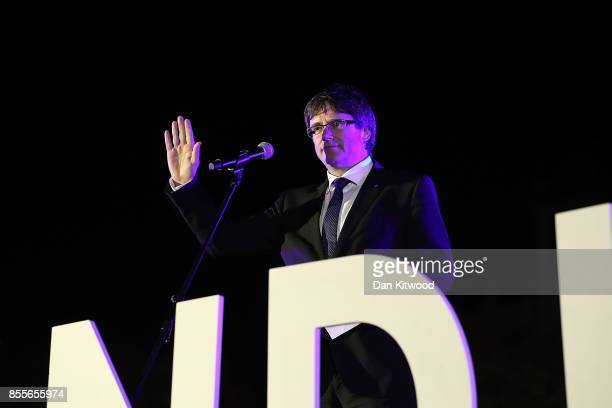 Catalan President and proindependence leader Carles Puigdemont speaks at the closing meeting of the final proindependence rally at Plaza Espana ahead...