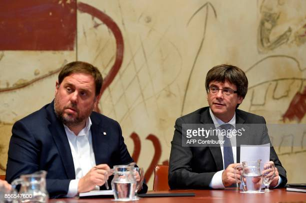 Catalan president Carles Puigdemont and leader of the leftwing party Esquerra Republicana Catalan regional vicepresident and chief of Economy and...