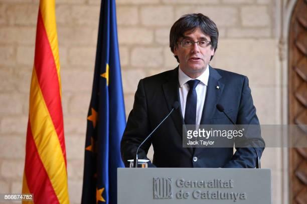 Catalan President Carles Puigdemont makes a statement at the Catalan Government building Generalitat de Catalunya on October 26 2017 in Barcelona...