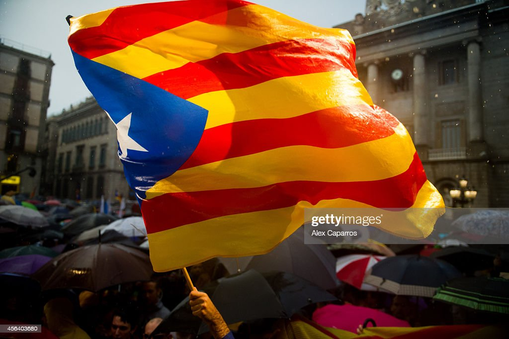 Catalan Proindependence demonstrators protest in front of the Barcelona City Hall against the suspension of the selfdetermination referendum by the...