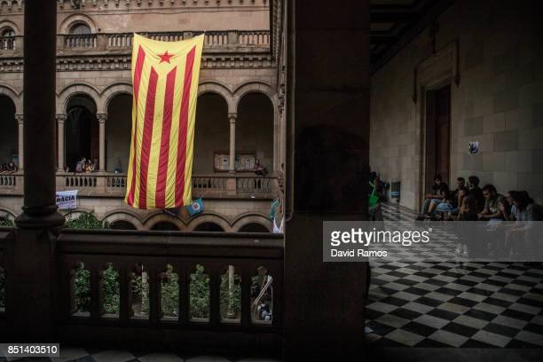 Catalan proindependence flag 'Estelada' hangs inside the rectory of the University of Barcelona during a protest on September 22 2017 in Barcelona...
