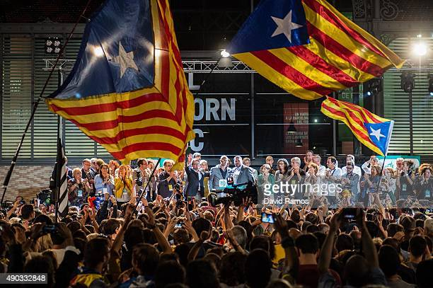 Catalan ProIndependence supporters celebrate after the Catalanist coalition 'Junts Pel Si' claim victory in the regional elections held in Catalonia...