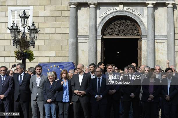 Catalan regional government foreign relations chief Raul Romeva Catalan government spokesperson Jordi Turull Catalan regional government president...