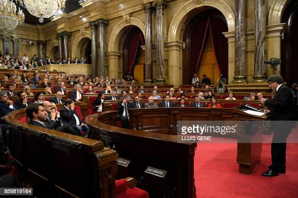 Catalan regional government president Carles Puigdemont gives a speech at the Catalan regional parliament in Barcelona on October 10 2017 Spain's...