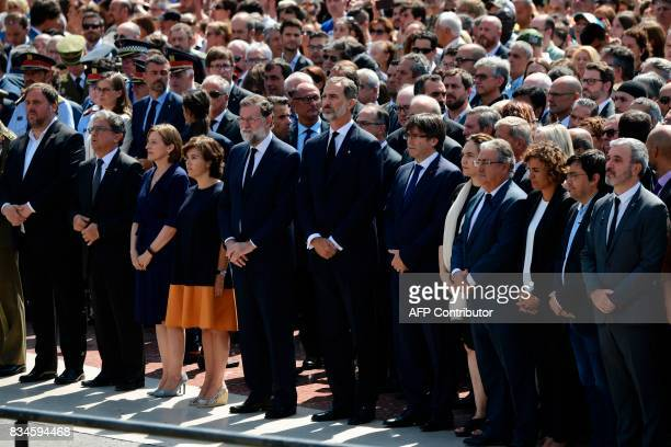 Catalan regional vicePresident and chief of Economy and Finance Oriol Junqueras Spain's King Felipe VI Spanish Prime Minister Mariano Rajoy President...