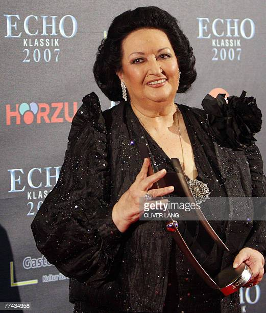 Catalan soprano Montserrat Caballe presents her Echo Klassik trophy after she was awarded the prize 21 October 2007 in Munich southern Germany The...