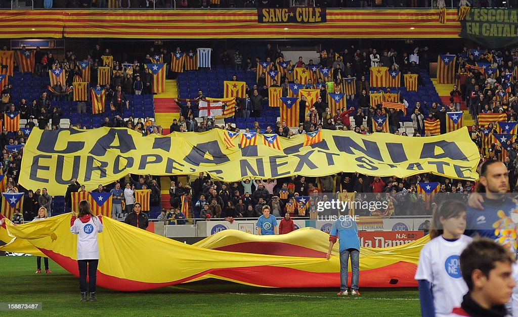 Catalan supporters display a banner reading 'Europe's next state' prior to the friendly football match between the selection of Catalonia and Nigeria atthe Cornella-El Prat stadium in Cornella de Llobregat on January 2, 2013.