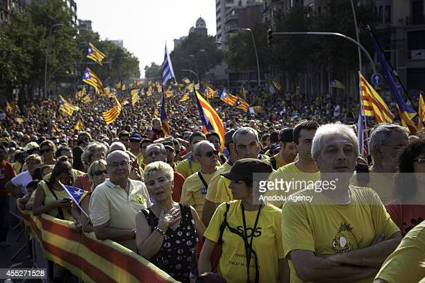 Catalans march during a ProIndependence demonstration as part of the celebrations of the National Day of Catalonia on September 11 2014 in Barcelona...