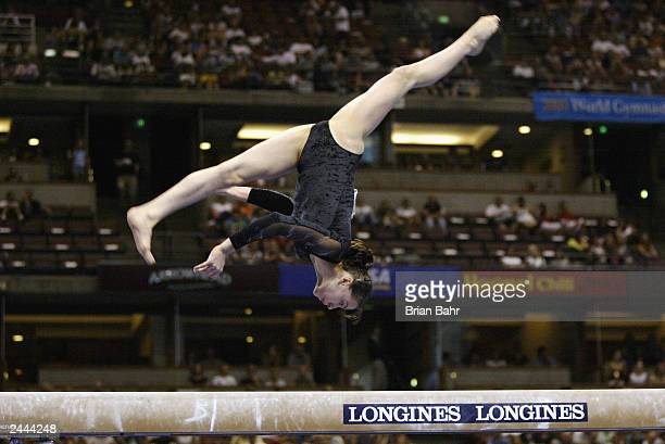 Catalina Ponor of Romania competes in the Women's balance beam during the apparatus Finals of the 2003 World Gymnastics Championships on August 24...