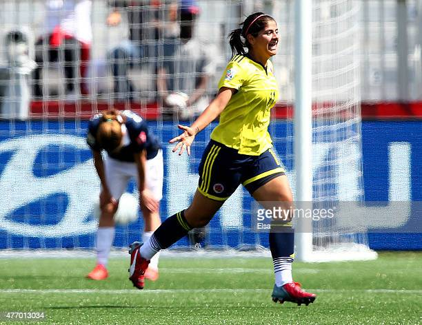 Catalina Usme of Colombia celebrates her goal in the second half against France during the FIFA Women's World Cup 2015 Group F match at Moncton...
