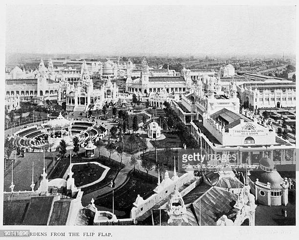Catalogue illustration An aerial view from the �Flip Flap� fairground ride showing the site of the Elite Gardens at the JapanBritish Exhibition in...