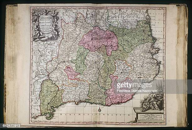 Catalonia map after the Independence edited by Matthaei Seutteri Germany XVIII century