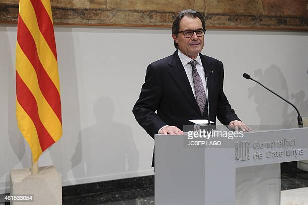 Catalonian regional government's president Artur Mas speaks during a press conference on January 14 2015 in Barcelona announcing early elections next...