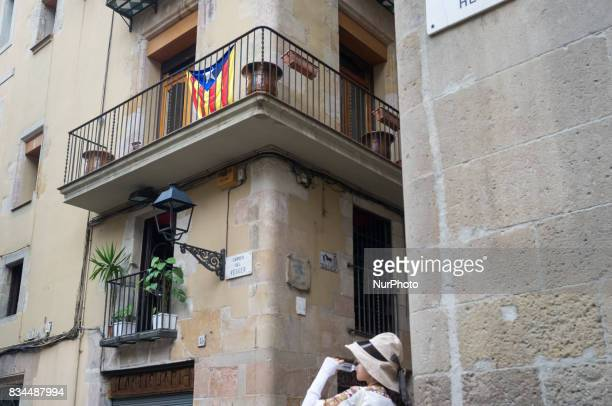 A Catalonian separatist flag is seen in the streets in Barcelona Spain downtown on August 2 2017