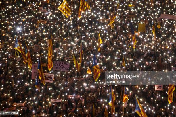Catalonia's Independence supporters march during a demonstration on November 11 2017 in Barcelona Spain Independence movement associations and...
