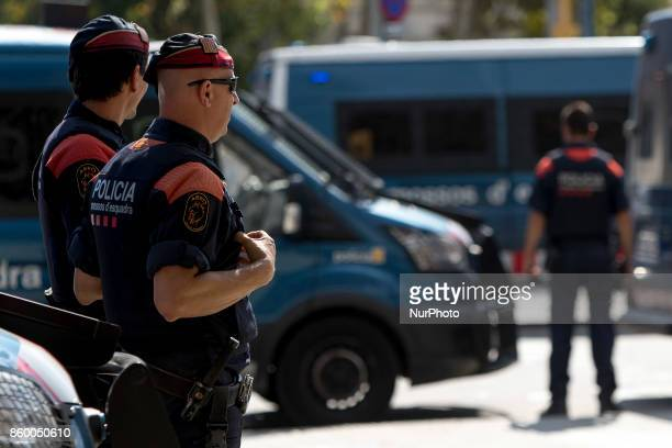 Catalonia's police block the acces to Catalonia's Parliament Carles Puigdemont president of the Catalan government declares the republic and...