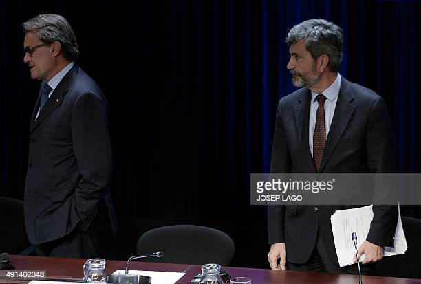 Catalonia's regional government president and leader of the Catalan Democratic Convergence party Artur Mas and President of the General Council of...