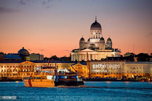 Catamaran and Helsinki Cathedral at dusk