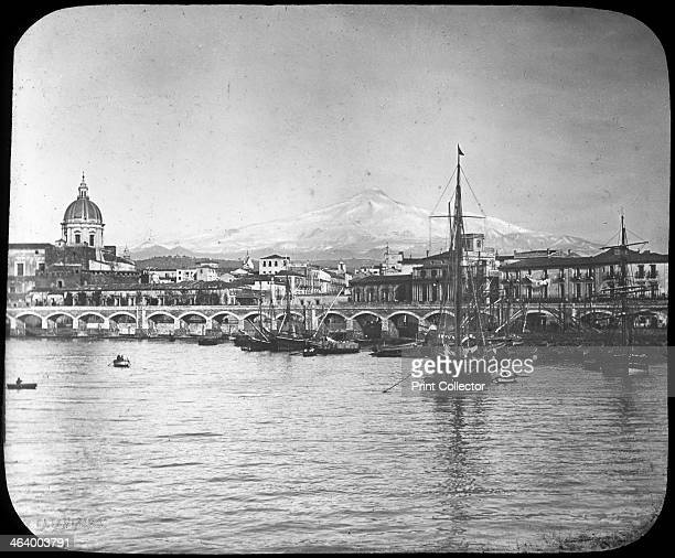 Catania and Mount Etna Sicily Italy late 19th or early 20th century Lantern slide