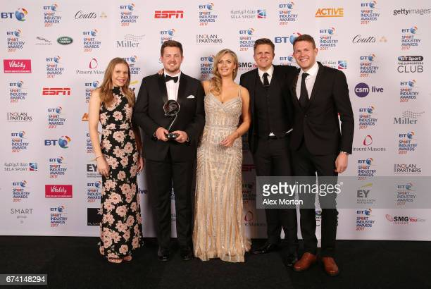 Catapult ECB Performance Technology Partnership pose with the Cutting Edge Sport award in association with Sela Sport with Hayley McQueen and Jake...