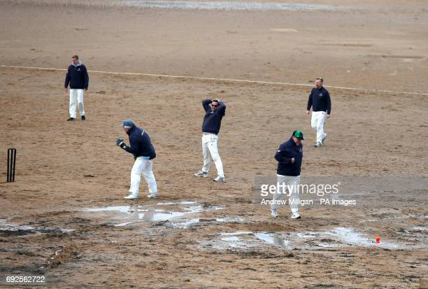 A catch is missed during the beach cricket match in Elie between the Ship Inn cricket team in Elie Fife and Eccentric Flamingos CC The Ship Inn are...