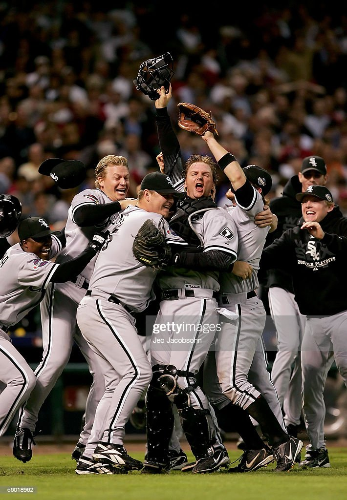 Catcher A.J. Pierzynski #12 hugs pitcher Bobby Jenks #45 as they and the rest of the Chicago White Sox celebrate after winning Game Four of the 2005 Major League Baseball World Series against the Houston Astros at Minute Maid Park on October 26, 2005 in Houston, Texas. The Chicago White Sox defeated the Houston Astros 1-0 to win the World Series 4 games to 0.
