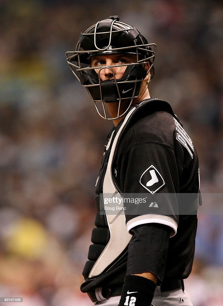 Catcher A.J. Pierzynski #12 of the Chicago White Sox looks toward the crowd between batters while taking on the Tampa Bay Rays in Game 1 of the American Leaugue Divisional Series at Tropicana Field on October 2, 2008 in St. Petersburg, Florida. The Rays defeated the White Sox 6-4.