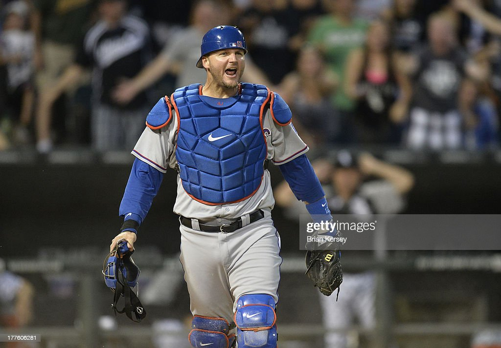 Catcher <a gi-track='captionPersonalityLinkClicked' href=/galleries/search?phrase=A.J.+Pierzynski&family=editorial&specificpeople=204486 ng-click='$event.stopPropagation()'>A.J. Pierzynski</a> #12 of the Texas Rangers reacts after tagging out Alexei Ramirez #10 of the Chicago White Sox at home plate when he tried to score on a single hit by Paul Konerko #14 during the fourth inning of the 2013 Civil Rights Game at U.S. Cellular Field on August 24, 2013 in Chicago, Illinois.