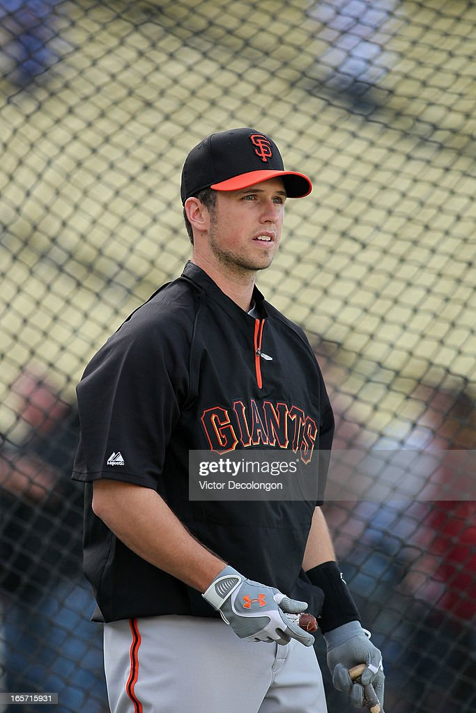Catcher <a gi-track='captionPersonalityLinkClicked' href=/galleries/search?phrase=Buster+Posey&family=editorial&specificpeople=4896435 ng-click='$event.stopPropagation()'>Buster Posey</a> #28 of the San Francisco takes batting practice prior to the MLB game against the Los Angeles Dodgers at Dodger Stadium on April 3, 2013 in Los Angeles, California. The Giants defeated the Dodgers 5-3.