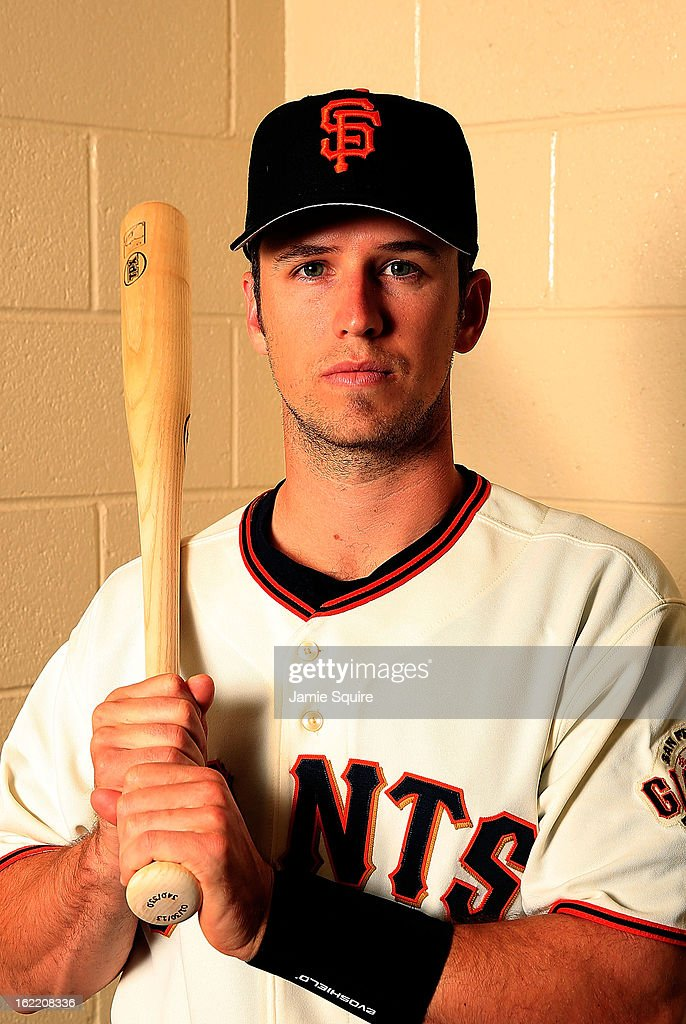 Catcher <a gi-track='captionPersonalityLinkClicked' href=/galleries/search?phrase=Buster+Posey&family=editorial&specificpeople=4896435 ng-click='$event.stopPropagation()'>Buster Posey</a> #28 poses for a portrait during San Francisco Giants Photo Day on February 20, 2013 in Scottsdale, Arizona.