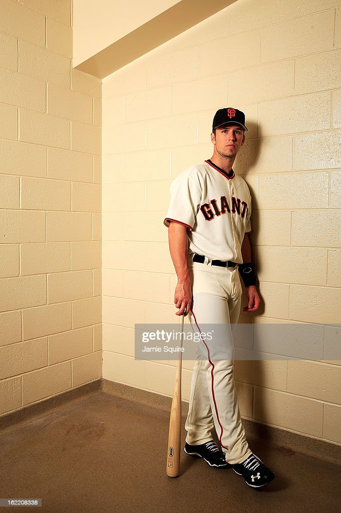 Catcher Buster Posey #28 poses for a portrait during San Francisco Giants Photo Day on February 20, 2013 in Scottsdale, Arizona.