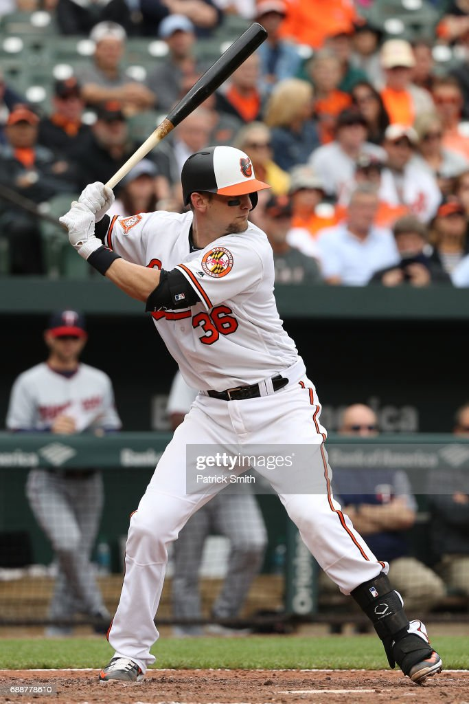 Catcher Caleb Joseph #36 of the Baltimore Orioles bats against the Minnesota Twins at Oriole Park at Camden Yards on May 24, 2017 in Baltimore, Maryland.