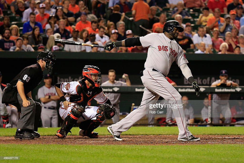 Catcher Caleb Joseph #36 of the Baltimore Orioles looks on as David Ortiz #34 of the Boston Red Sox strikes out swinging at Oriole Park at Camden Yards on June 9, 2014 in Baltimore, Maryland.