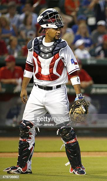 Catcher Carlos Corporan of the Texas Rangers during a baseball game against the Los Angeles Angels at Globe Life Park on July 4 2015 in Arlington...