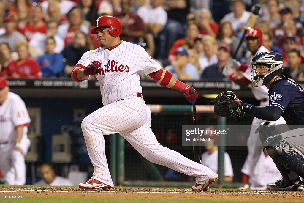 Catcher Carlos Ruiz #51 of the Philadelphia Phillies bats during a game against the San Diego Padres at Citizens Bank Park on May 12, 2012 in Philadelphia, Pennsylvania. The Padres won 2-1.
