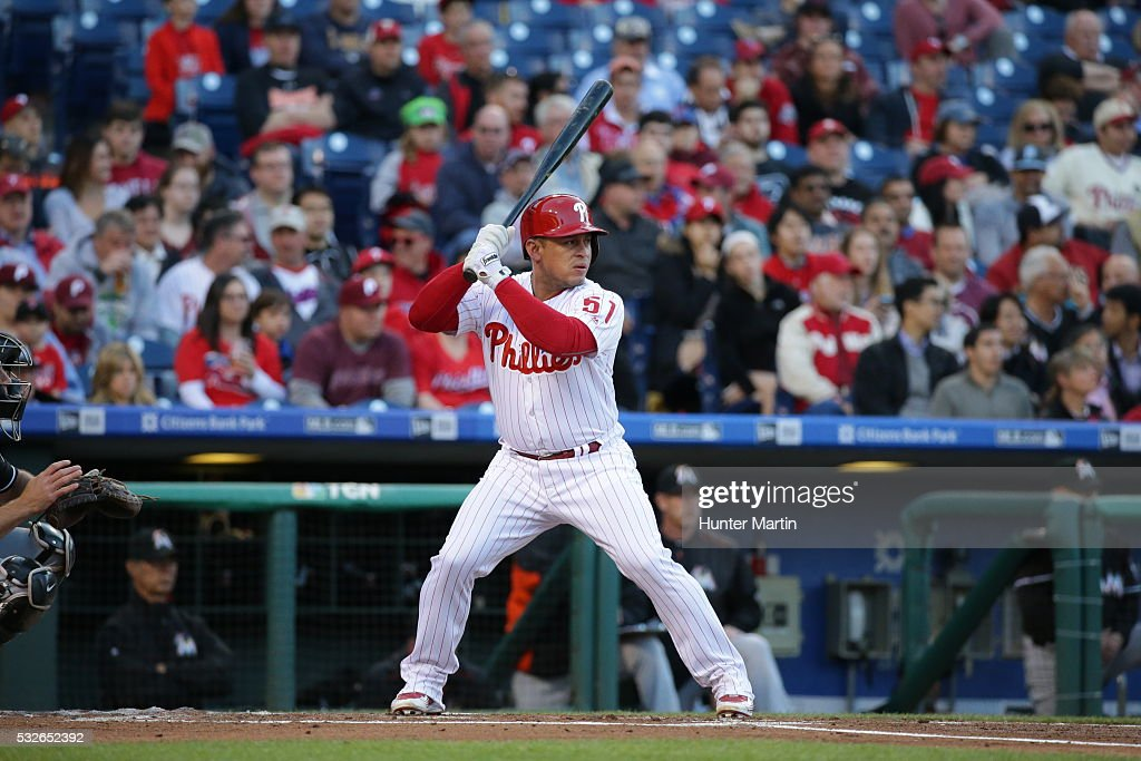 Catcher Carlos Ruiz of the Philadelphia Phillies bats during a game against the Miami Marlins at Citizens Bank Park on May 16 2016 in Philadelphia...