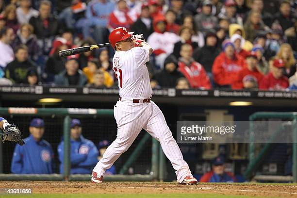 Catcher Carlos Ruiz of the Philadelphia Phillies during a game against the Chicago Cubs at Citizens Bank Park on April 28 2012 in Philadelphia...