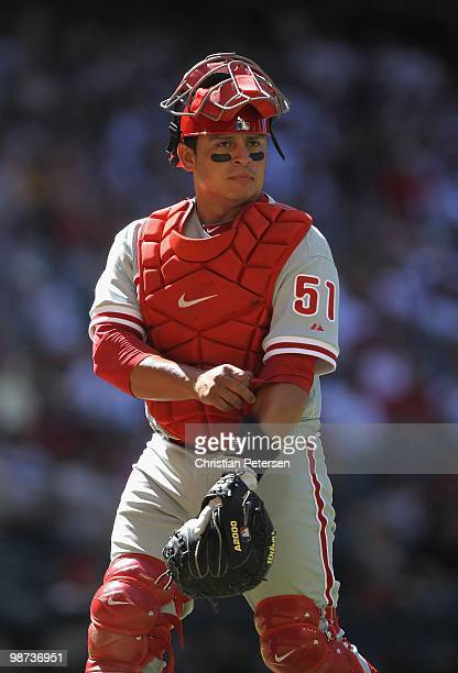 Catcher Carlos Ruiz of the Philadelphia Phillies in action during the Major League Baseball game against the Arizona Diamondbacks at Chase Field on...