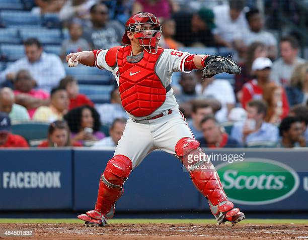 Catcher Carlos Ruiz of the Philadelphia Phillies throws to second base during the game against the Atlanta Braves at Turner Field on May 5 2015 in...