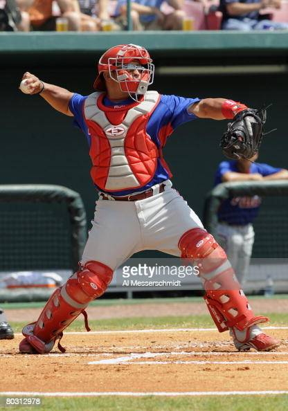 Catcher Carlos Ruiz of the Philadelphia Phillies throws to second base against the Tampa Bay Rays March 19 2008 at Progress Energy Park in St...